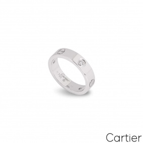 Cartier White Gold Half Diamond Love Ring Size 49 B4032500